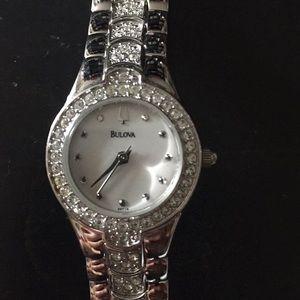 Bulova silver Swarovski crystal watch